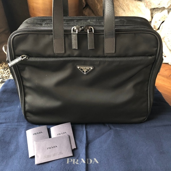d4e38d8a99a0c1 Prada Bags | Black Nylon With Leather Trim Laptop Bag | Poshmark